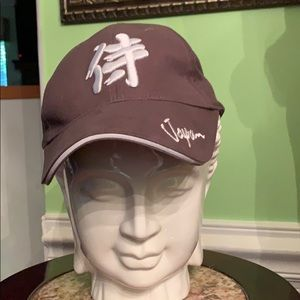 Adjustable gray and white baseball cap